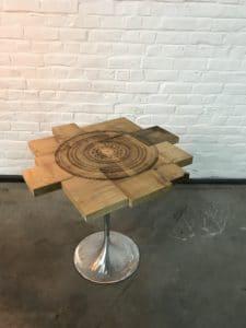 Table basse mandala gravé